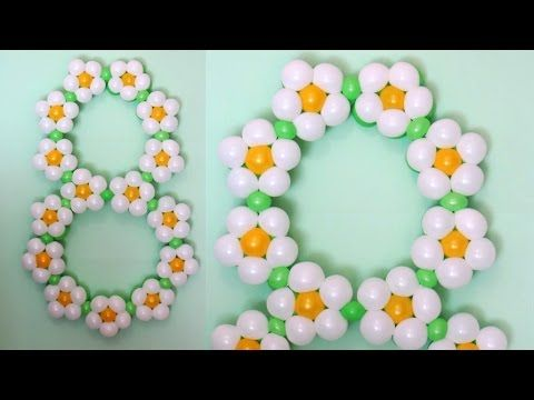 Цифра из шаров на 8 Марта / Figure eight of flowers of balloons, twisting