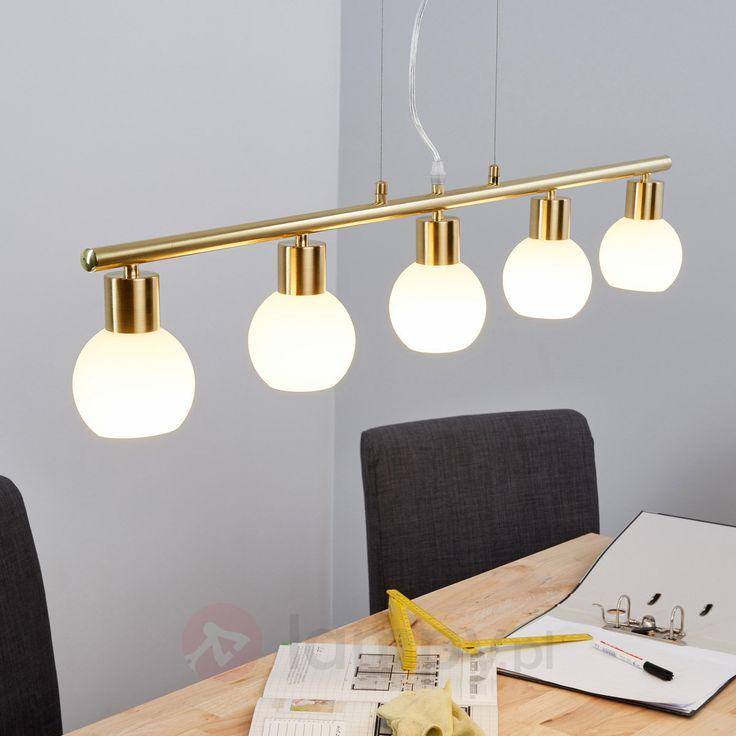 Elegancka wisząca lampa belka LED ELAINA, mosiężna 9620039