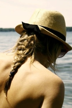 top off your beach braid with a fedora!