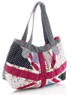 Union Jack patchwork bag. Maybe one side UK, and the other US?