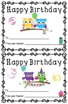 11 best birthday images on pinterest birthdays classroom decor happy birthday cards for your students bookmarktalkfo Choice Image