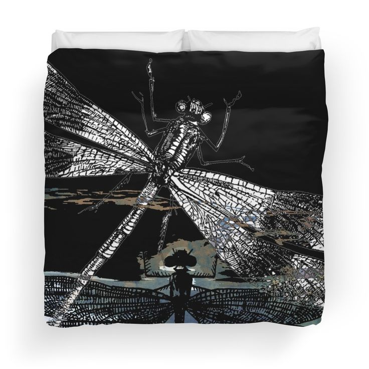 DRAGONFLY meets a FRIEND II by Pia Schneider, atelier COLOUR-VISION.  #art #dragonfly #kunst #pod  #libellen #schwarz #illustration #bettwäsche #design #piaschneider #redbubble #dekoration #homedecor