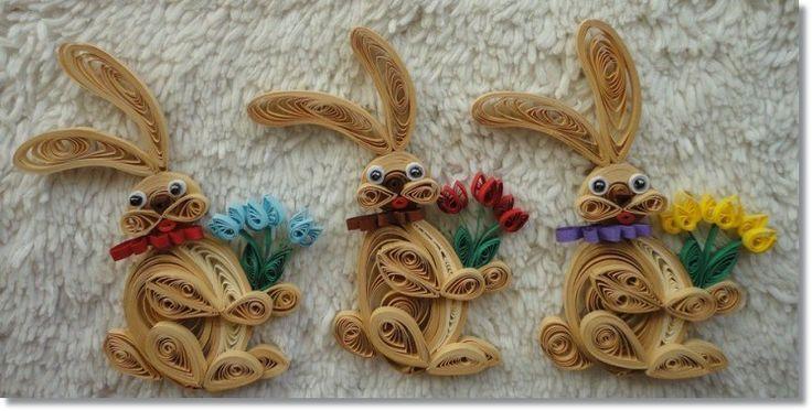 Zajączki quilling do dekoracji ...