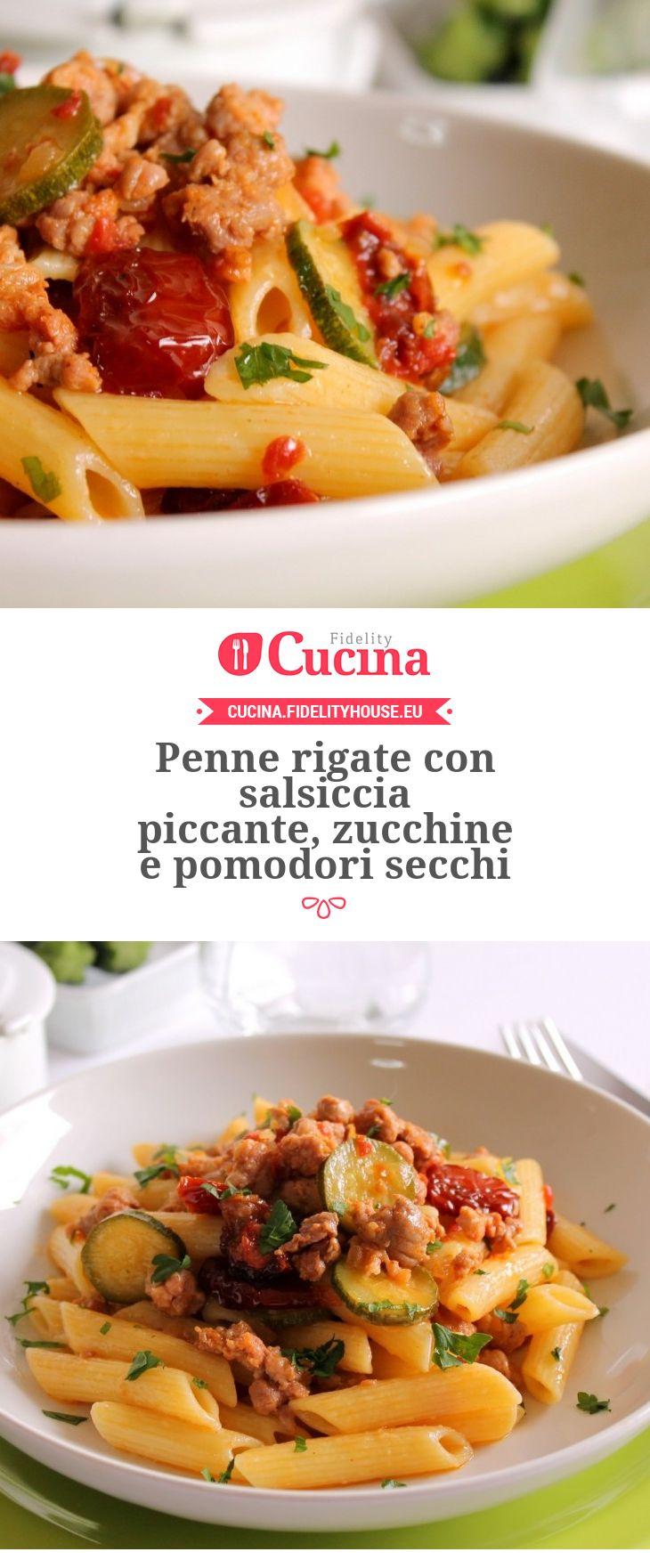 Penne rigate con salsiccia piccante, zucchine e pomodori secchi della nostra utente Giovanna. Unisciti alla nostra Community ed invia le tue ricette!