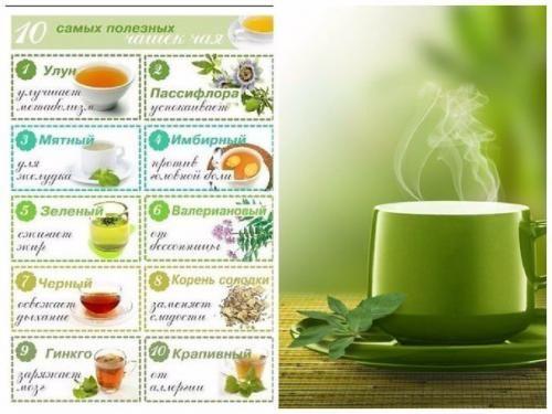 1. улун (название, которое может быть на упаковке - Oolong. Чай улун метаболизм улучшает. Цветовая гамма заварки - от бледно - нефритового (как у зеленого чая) до темно - золотистого и темно - красног...