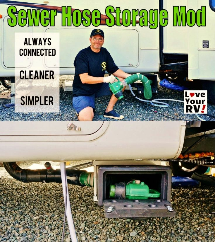 Modifying the RVs sewer output plumbing and adding a hose storage box for my Waste Master sewer system - http://www.loveyourrv.com/ultimate-rv-sewer-system-modification/ #RVing #RVmod