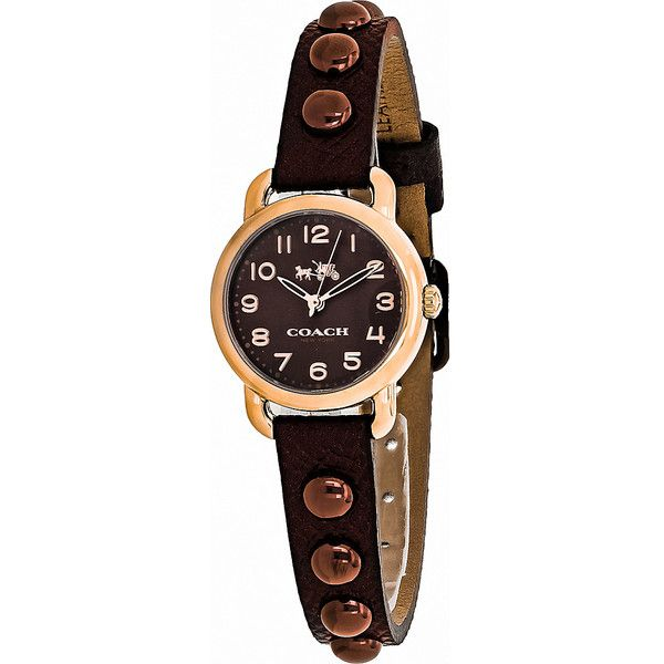 Coach Watches Coach Women's Delancey Watch - Brown - Women's Watches ($200) ❤ liked on Polyvore featuring jewelry, watches, brown, brown jewelry, stainless steel watches, stainless steel wrist watch, water resistant watches and brown wrist watch