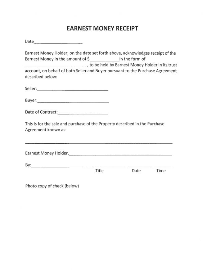 Explore Our Image Of Earnest Money Contract Template Contract Template Earnest Receipt Template