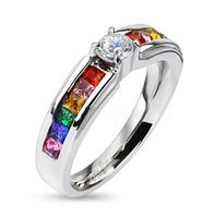 New! Rainbow Ring with CZ Middle Stone - Lesbian & Gay Engagement Wedding Ring
