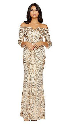 8efdde75457 Quiz - Gold sequin bardot maxi dress