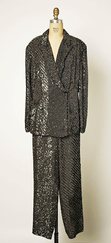 Evening suit, Giorgio Armani, silk, glass, plastic