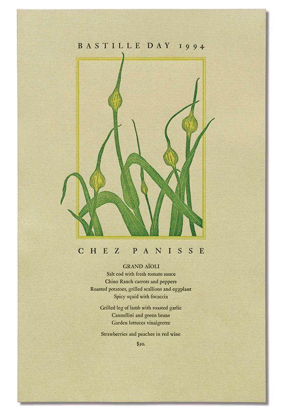Paris review of Chez Panisse Menu book with Bastille Day menu