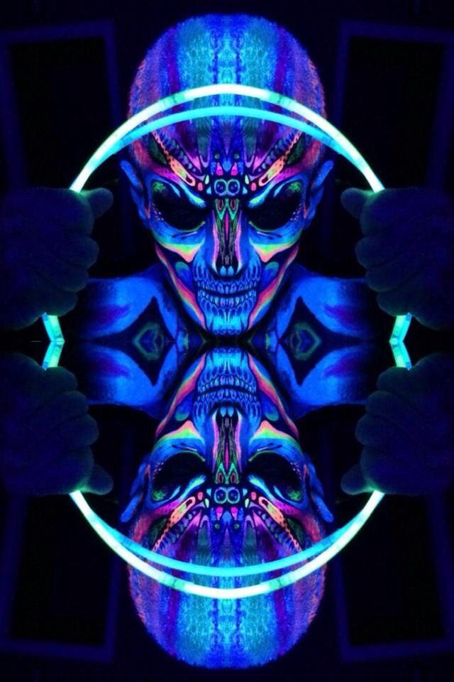 Neon face paint #UV makeup