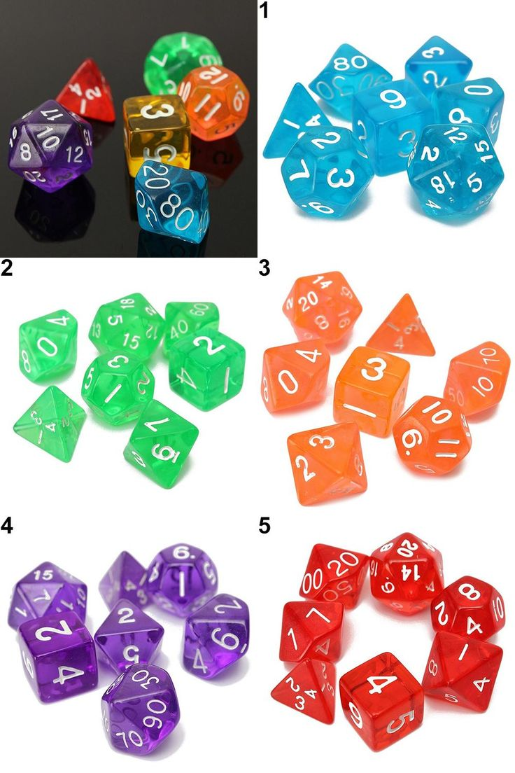 [Visit to Buy] 7Pcs/Set Various Sided Dice Role Playing Board Game Props Translucent Dice Set #Advertisement