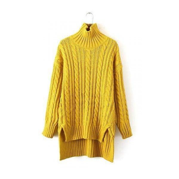 Longline Cable Knit Sweater in Yellow ($77) ❤ liked on Polyvore featuring tops, sweaters, slouchy tops, chunky cable sweater, high neck sweater, cable knit sweater and slouch sweater