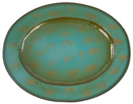 """4 Pc 19.5"""" Oval Rustic Turquoise Southwestern Charger Plates"""