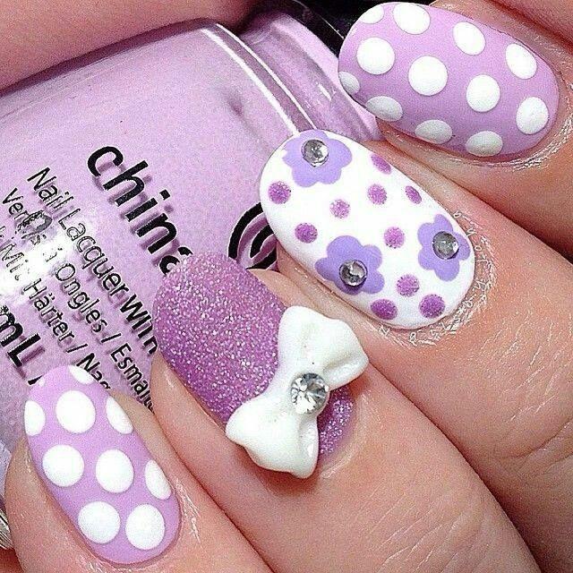 Purple glitter polka dot flower bow nailart #purple #polkadot #floral #bow #nail #nails #nailart #unha #unhas #unhasdecoradas