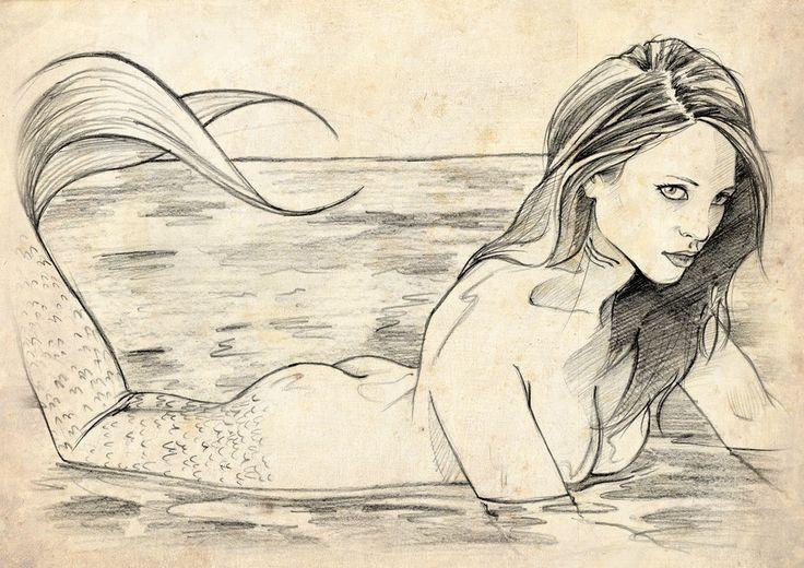 Sirena, por Aizar en Fantasía | Dibujando.net   #diseño-conceptual #fantasia#tradicional #realista #lápiz