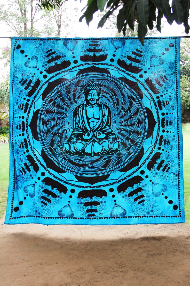 Buddha Meditation and Lotus Cotton Blue Wall Hanging Tapestry From India