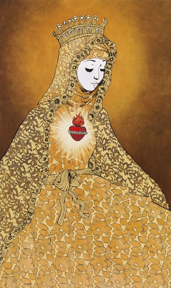 """The Sacred Heart also by David Foote. Part of his """"Madonna and Child"""" Collection. Beautiful. This Holy Virgin Mary brings a warm and calm feeling and the same time a strange sadness on her face, sadness by humanity..."""