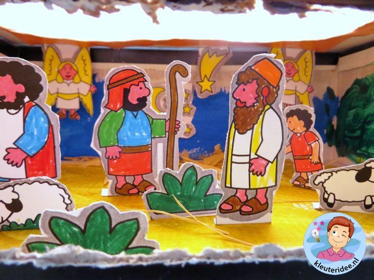 Kijkdoos kerst voor kleuters, kleuteridee, free printable