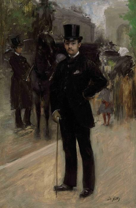 Giuseppe De Nittis (Italian 1846–1884) [Impressionism, Salon] Portrait of a Gentleman on a Parisian Boulevard.