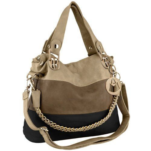 MG Collection Ece Tri-Tone Hobo Handbag, Black, One Size Slouchy hobo in color-block faux leather featuring double top handles and removable shoulder strap, braided metallic chain, and cutaway handbag. Super cute tote goes with any outfit, lovely neutral colors. Very stylish. Great gift ideas under 50 dollars!