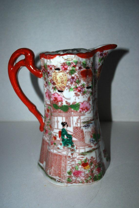 Japanese Kutani Hand Painted Eggshell China Cherry Blossom Geisha Scene