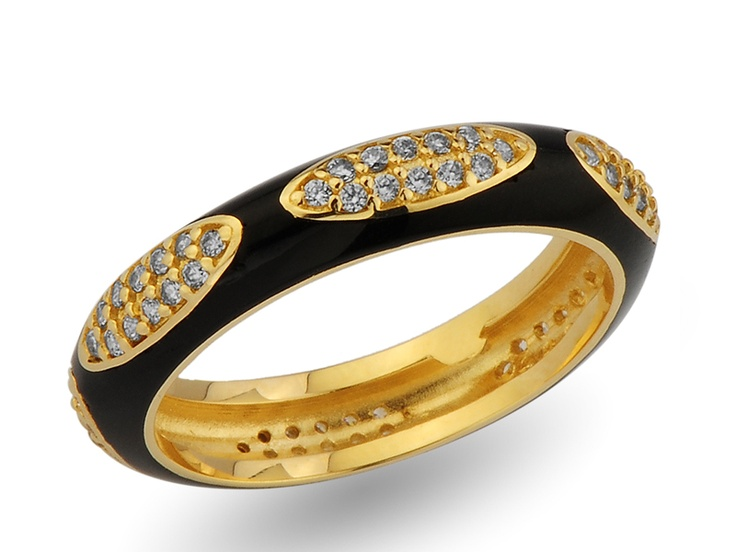 black enameled pave wedding ring / alyans