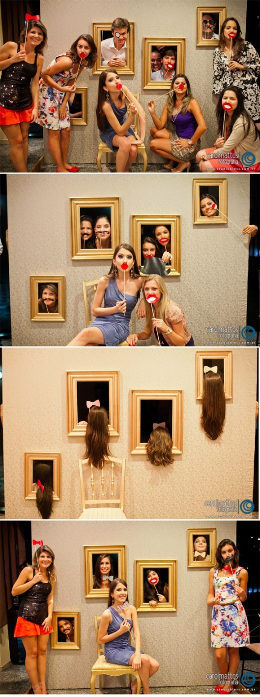 Fun w the guests: cut cardboard & put funky wall paper on it, prop it up & cut holes out where picture frames go, as guests arrive take funny pictures popping in & out of the picture frames!!!