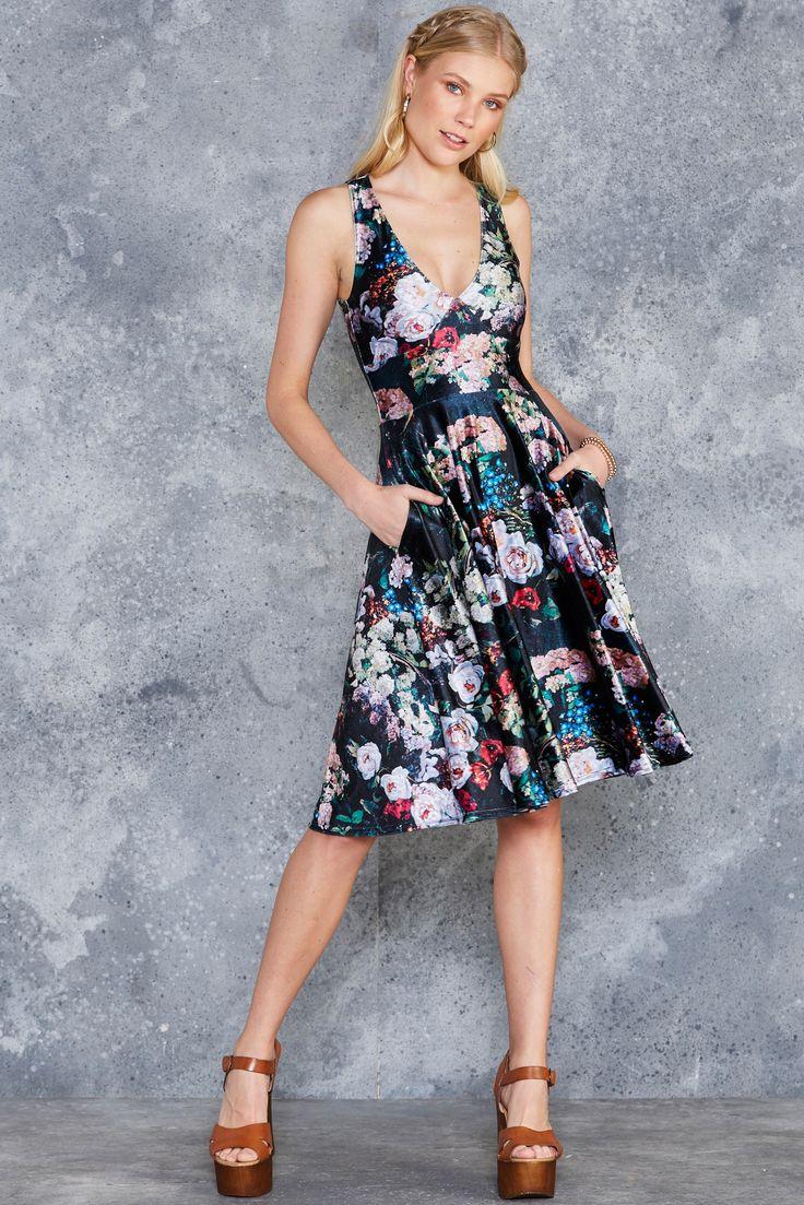 Take My Monet Velvet Midi Marilyn Dress - 7 DAY UNLIMITED ($130AUD) by BlackMilk Clothing