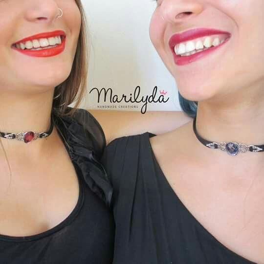 """""""Gothic Style"""" choker by Marilyda Tσόκερ από διπλό σουέντ δέρμα, ορείχαλκο ασημί vintage στοιχείο και κρυστάλινη πετρά σε απίθανο μπορντό χρώμα."""