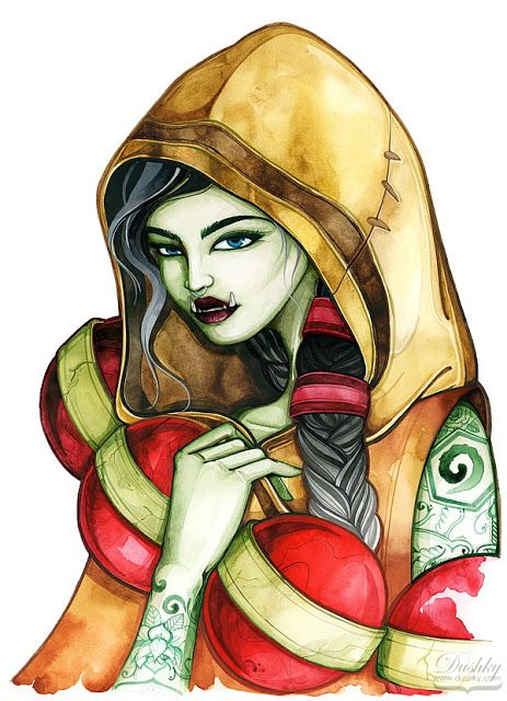 illustration by #dushky | #fashion #illustration #art #watercolor #gaming #video #games #hearthstone #girl #orc #creature #corphack