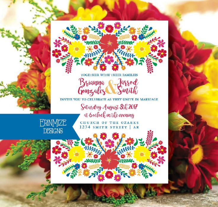 A personal favorite from my Etsy shop https://www.etsy.com/listing/526821975/mexican-themed-wedding-invitation-bright