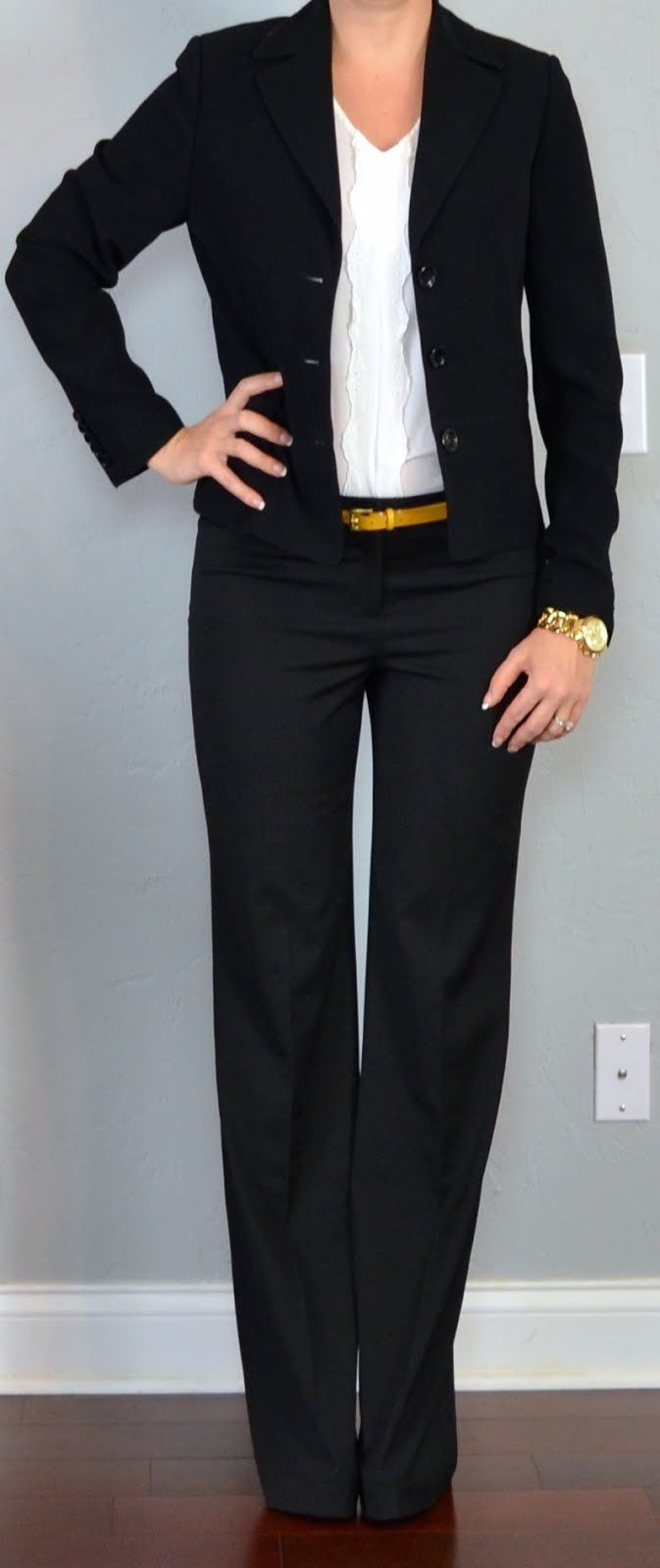 I like the black with the colorful belt. Outfit Posts: outfit post: black suit jacket, black suit pants, white ruffle blouse, yellow belt