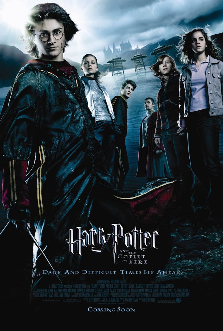 Harry Potter and the Goblet of Fire (2005). Very exciting Harry Potter movie. Everything gets a lot more serious in this one, and the actors really step up their game as a result. I've seen this one so many times! Rewatched 09/28/14