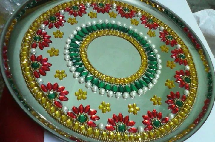 641 best images about art on pinterest murals shree for Aarti thali decoration with clay