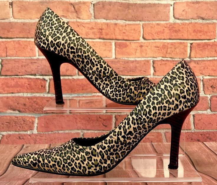 Womens Select Leopard Print High Heel Stiletto Court Shoes Pointed Toe Uk5 girls