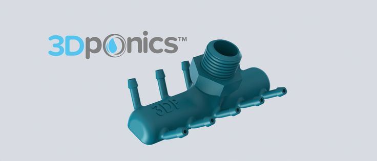 Pump Connector | Allows you to connect up to 10 systems to one water pump. It has been modified to print well without supports or raft. #3Dponics