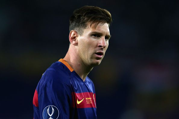 Lionel Messi of Barcelona looks on during the UEFA Super Cup between Barcelona and Sevilla FC at Dinamo Arena on August 11 2015 in Tbilisi Georgia