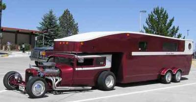 A chopped 1927 Model T (we're assuming a new engine package of some sort) and a custom built fifth-wheel