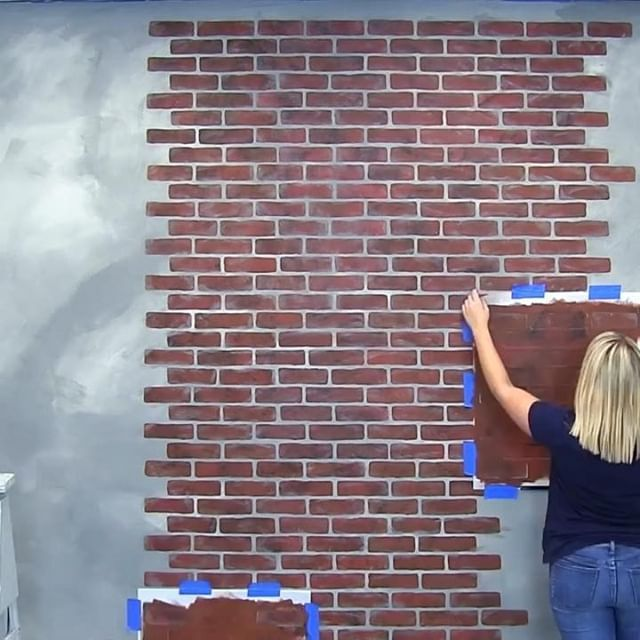Diy Painted And Stencil Exposed Faux Brick Wall Ideas On A Budget Using Easy To Use Brick Wall Stencil Patterns Fro Brick Wall Stencil Faux Brick Stencils Wall