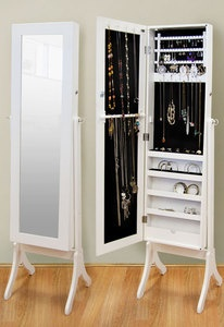 Full length Mirror Jewellery Cabinet White - great idea. Will be telling my dad to make this for me asap.
