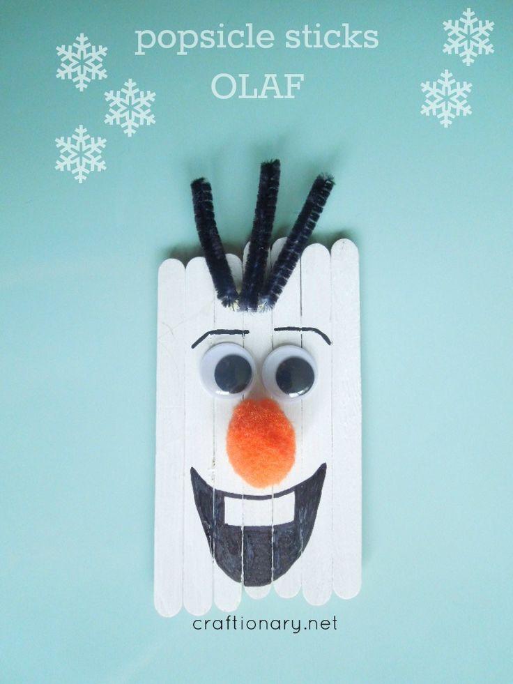 Popsicle sticks Olaf (Frozen Snowman) - Craftionary