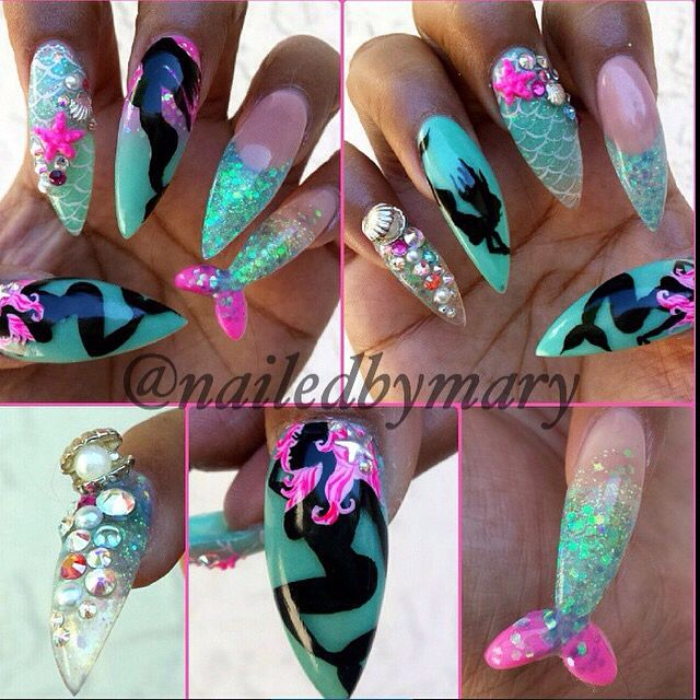 Mermaid fin beach ocean long stiletto nails nailed by for 3d nail art salon new jersey
