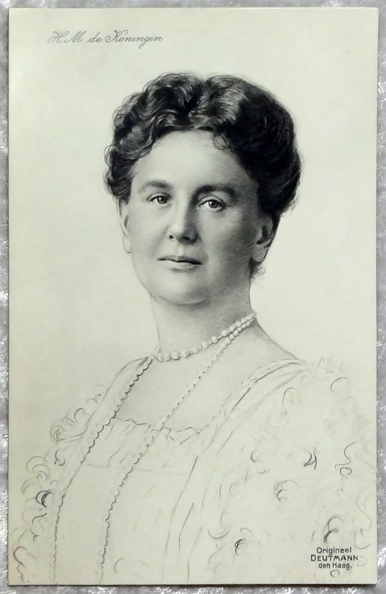 Queen Wilhelmina Postcard, H.M. de Koningin, Black & White, Antique Vintage c1905