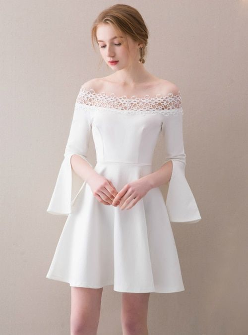 83e60685bef7 Silhouette:a-line Hemline:knee length Neckline:off the shoulder  Fabric:satin Shown Color:white Sleeve Style:short sleeve Back Style:zipper  up