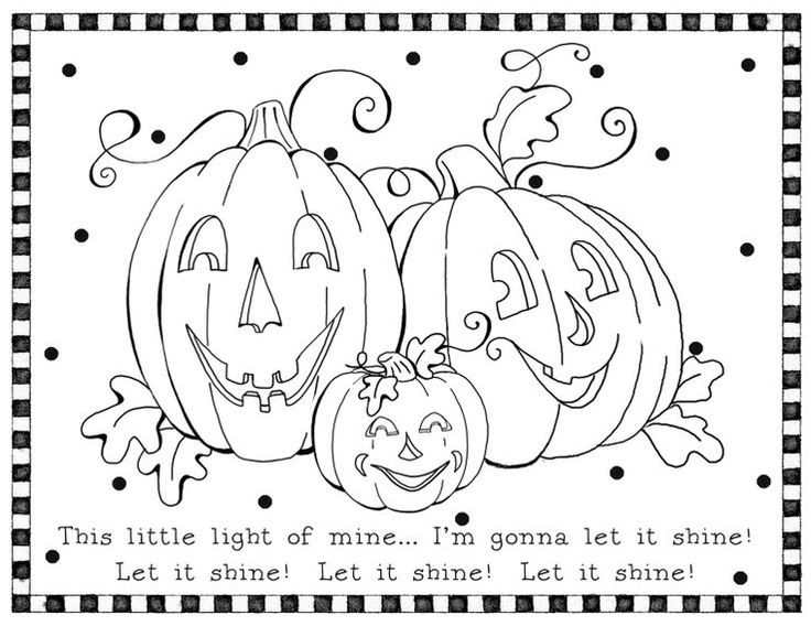 halloween coloring page of jack olantern pumpkins - Religious Halloween Crafts