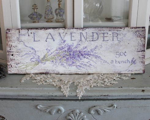 Lavender 50 cents a bunch sign - FREE USA SHIPPING - Debi Coules Romantic Art