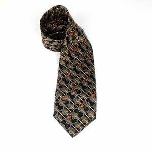 YSL Yves Saint Laurent Silk Gray Tie with retro violin & roses motif